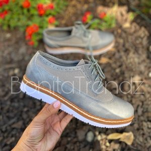 Gray Wing Tip White Sole Oxfords